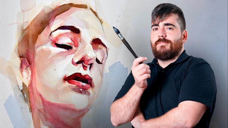 Artistic portrait in watercolor.